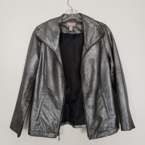 Silver Faux Leather Jacket